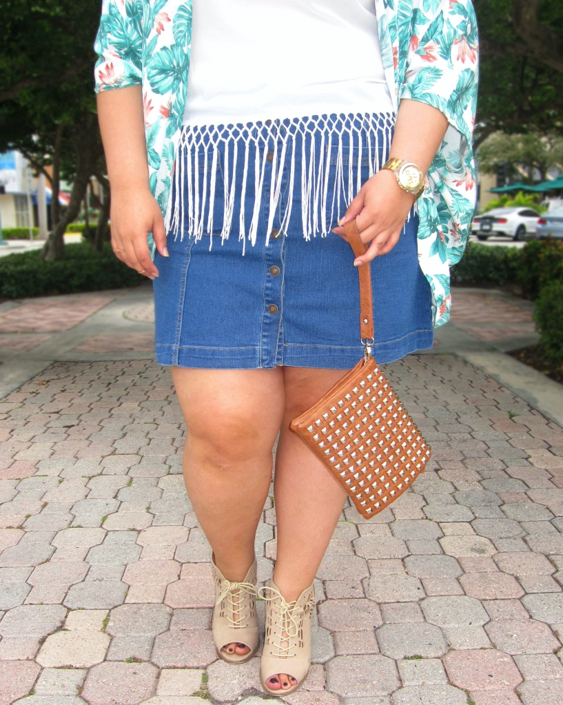 Forever 21 Plus Button-Down Denim Skirt