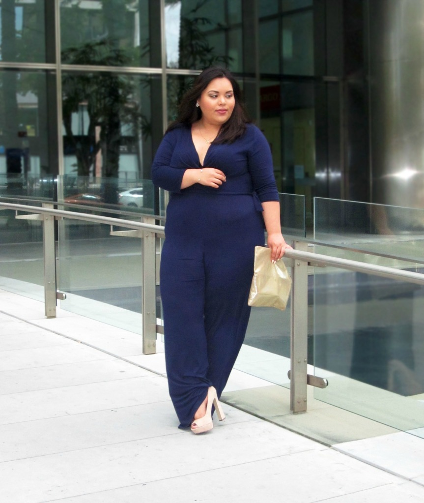 Plus Size Wide Leg Navy Jumpsuit