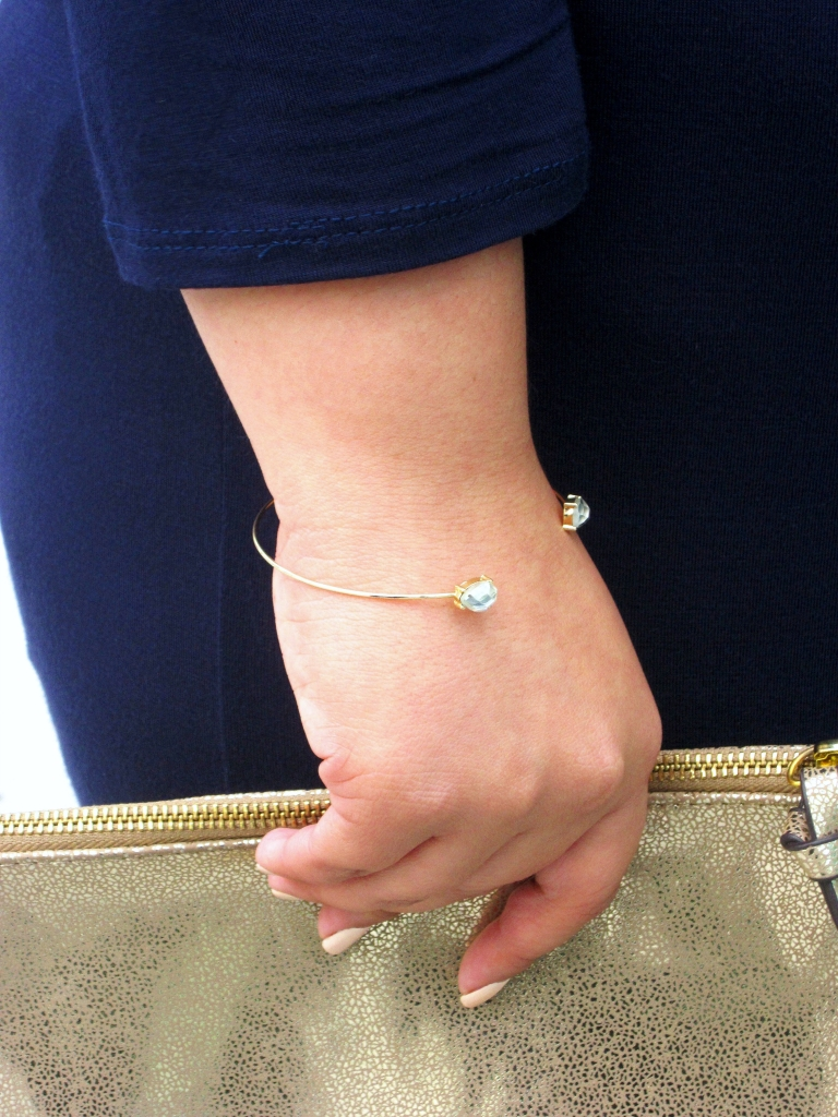 Gold Teardrop Open Cuff Bracelet