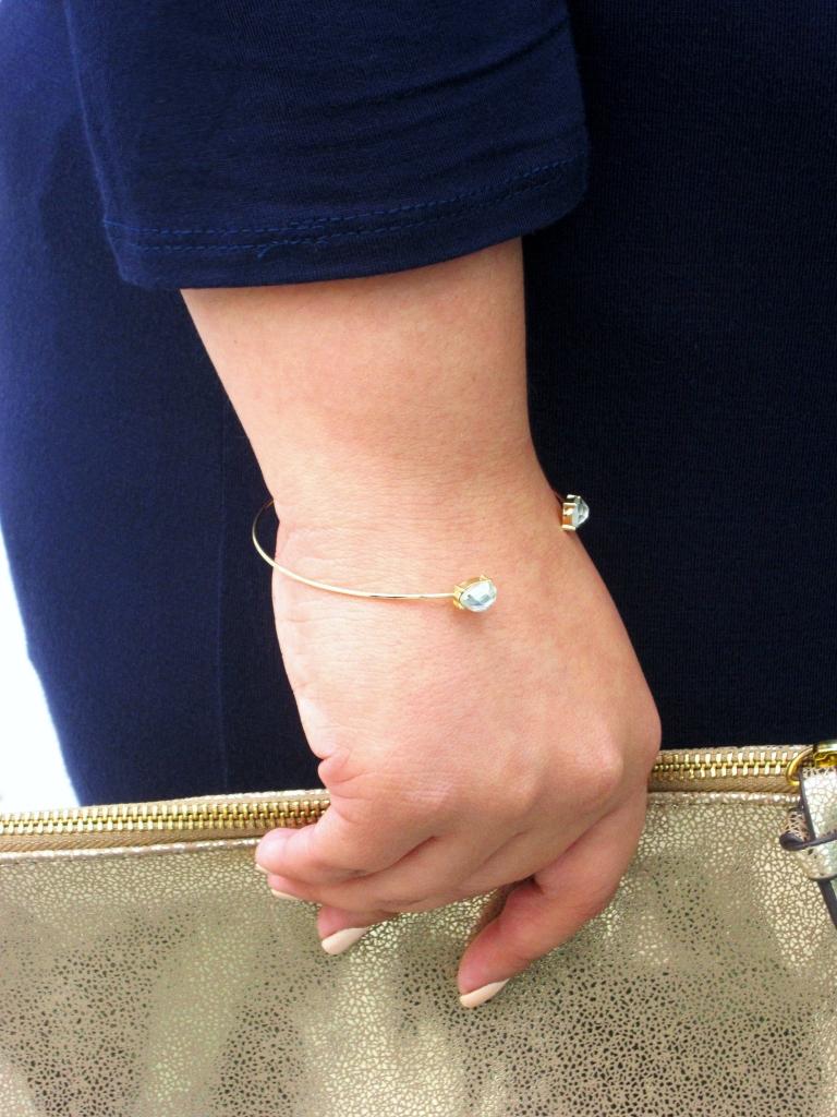 Gold Teardrop Open Cuff Bracelet