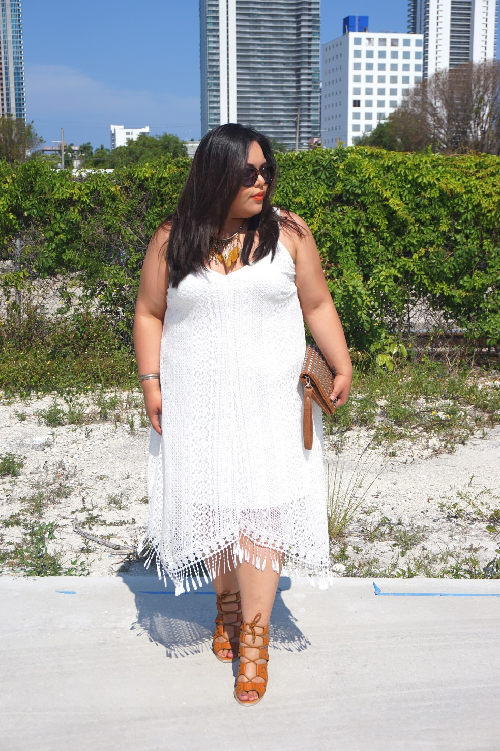 Plus Size Crochet Fringe Shift Dress