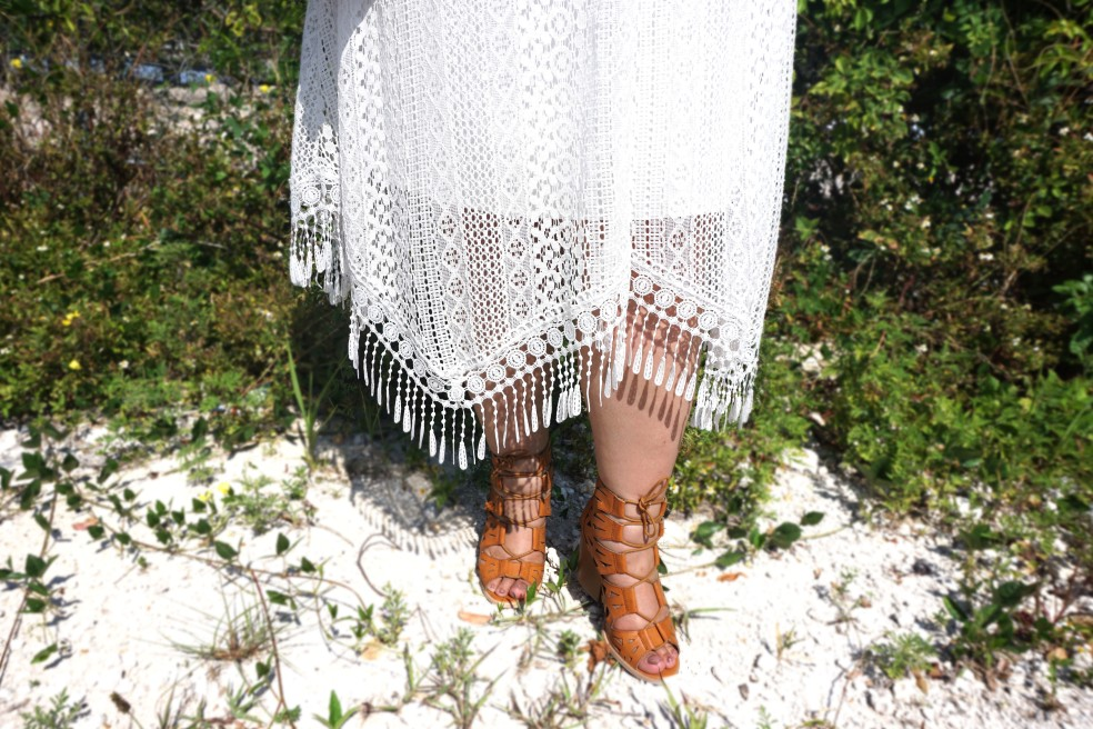 Crochet and Fringe Details featuring Charlotte Russe Laser-Cut Lace Up Heels