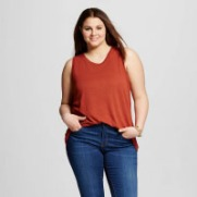 Target Women's Plus Size Who What Wear Printed Twisted Seam Tank Top Fiery Brown