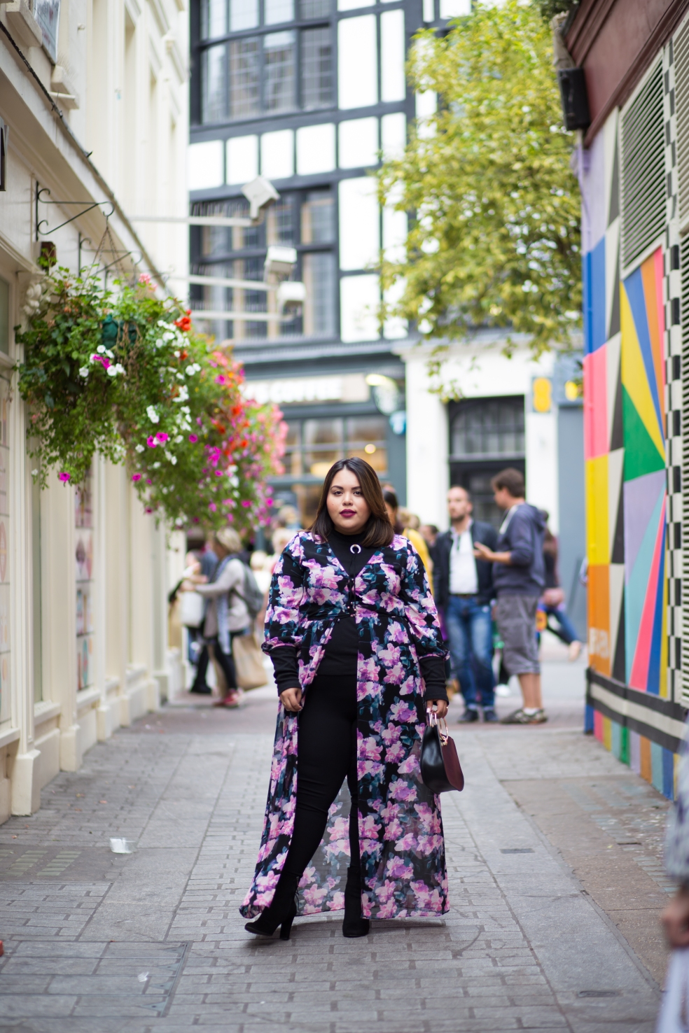 London Fashion Week Plus Size Fashion featuring Forever 21 Plus Size Floral Maxi Dress ASOS Curve Turtleneck Leggings and Sam Edelman Booties