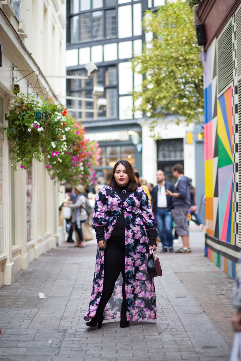 London Fashion Week Plus Size Fashion featuring Forever 21 Plus Size Floral Maxi Dress ASOS Curve Turtleneck Leggings and Sam Edelman Booties