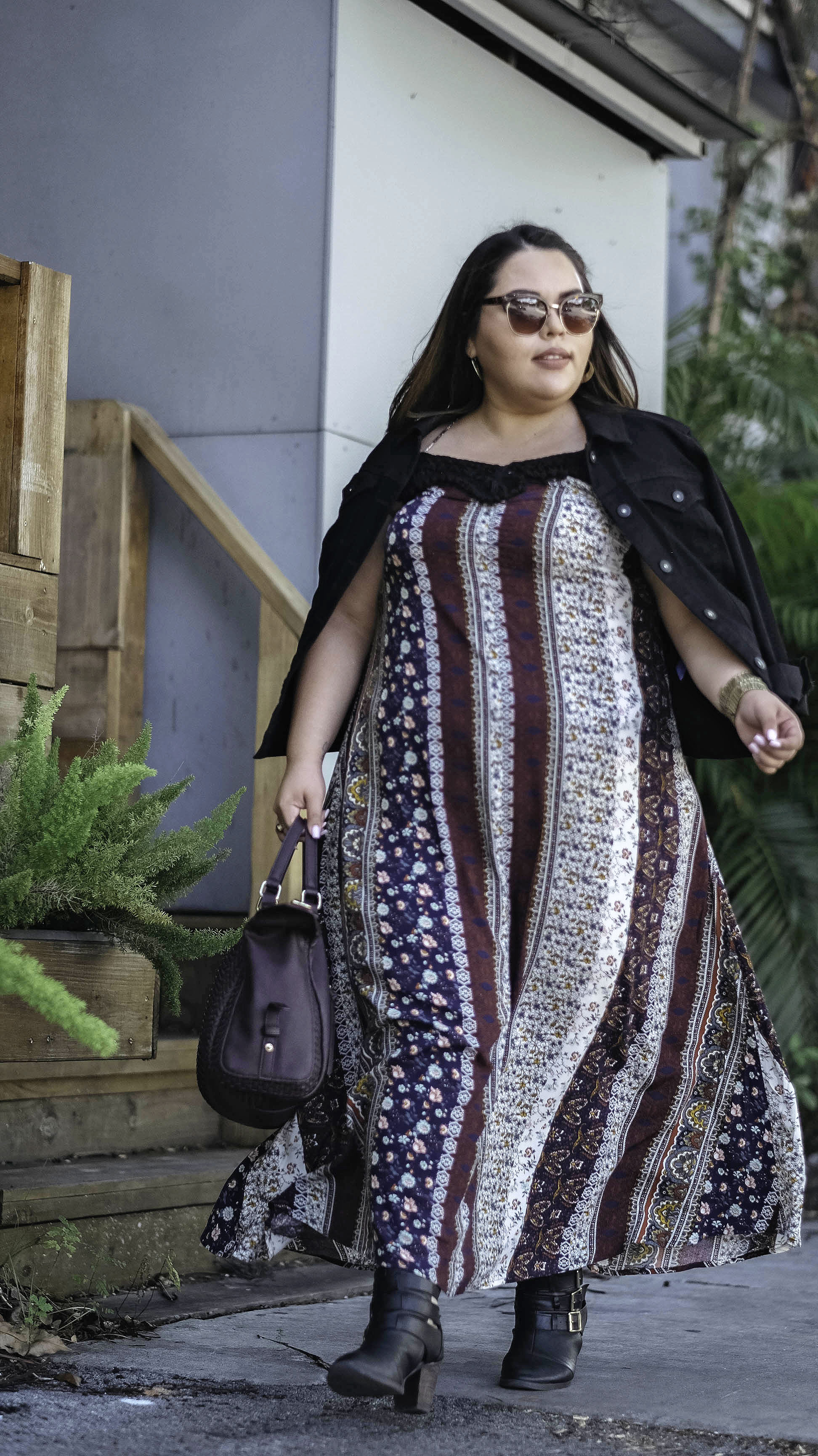 d6ba5244302 Plus Size Layered Boho Maxi Dress with Style   Co. Black Denim Jacket and  Target