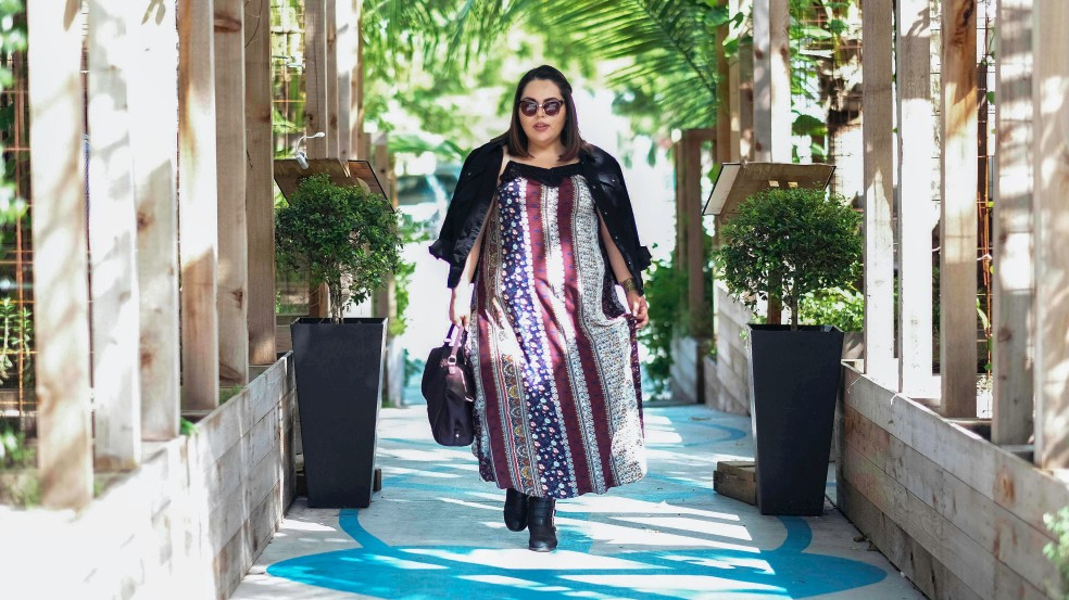Plus Size Boho Maxi Dress Fall Style