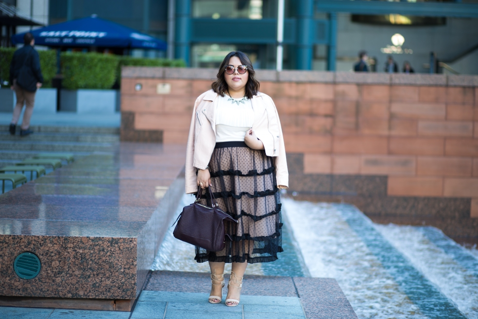 Plus Size Evening Style featuring Eloquii Tulle Skirt Forever 21 Plus Faux Leather Moto Jacket