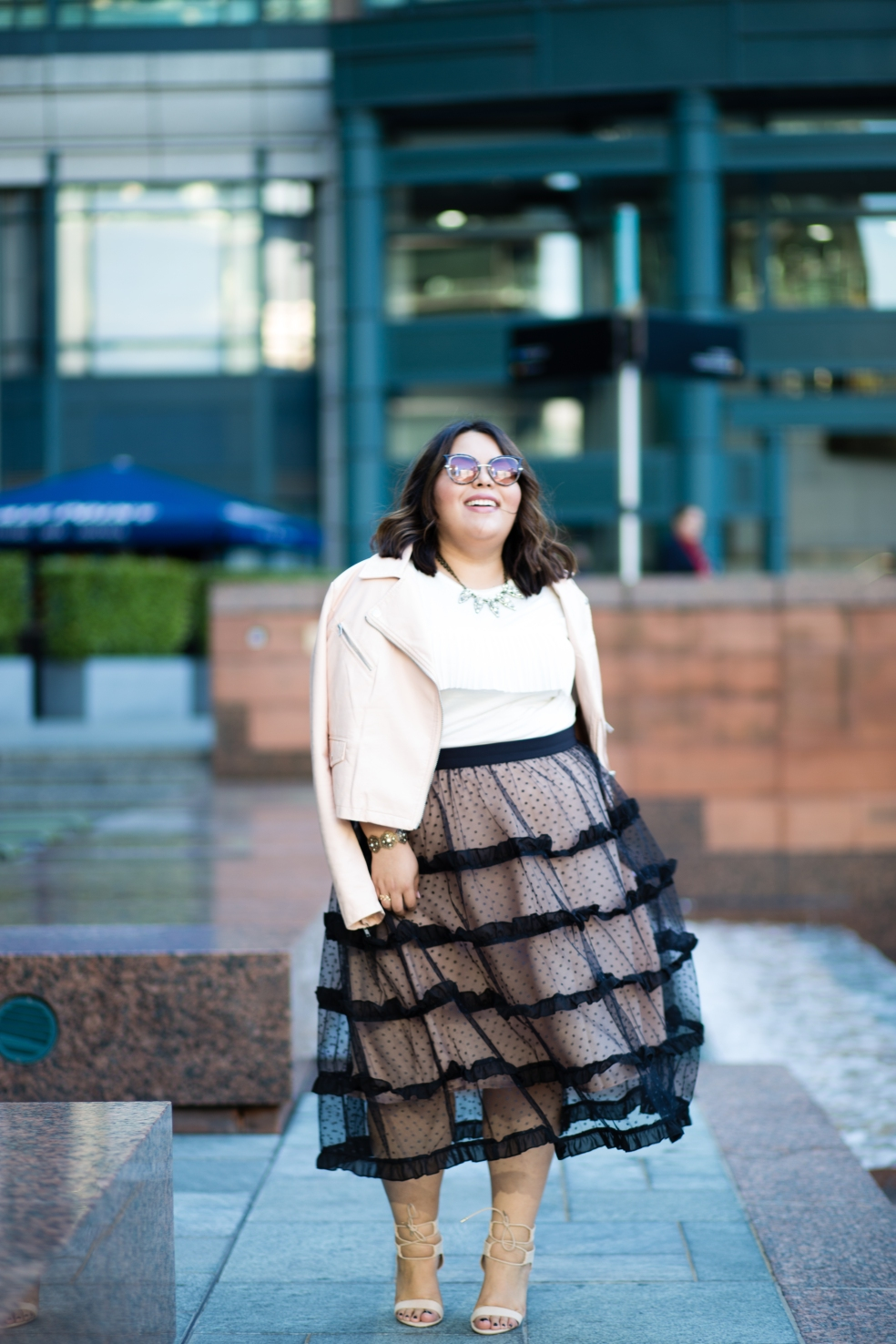 Fall Plus Size Outfit of the Night Featuring Eloquii Tulle Ruffle Skirt