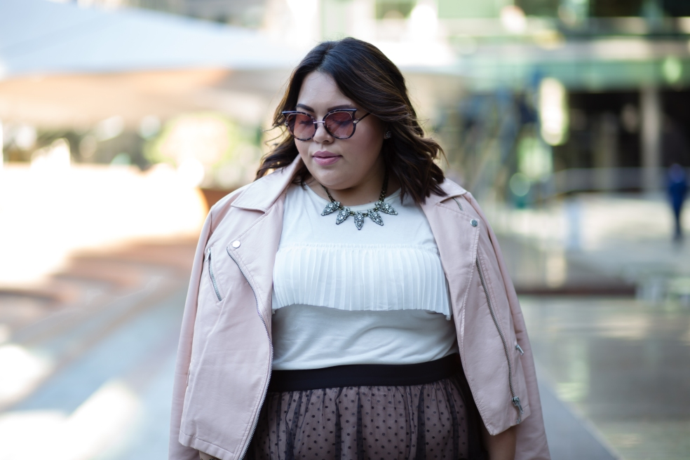 Plus Size Fall Style featuring Forever 21 Plus Size Faux Leather Mauve Moto Jacket and Banana Republic Ruffle Top
