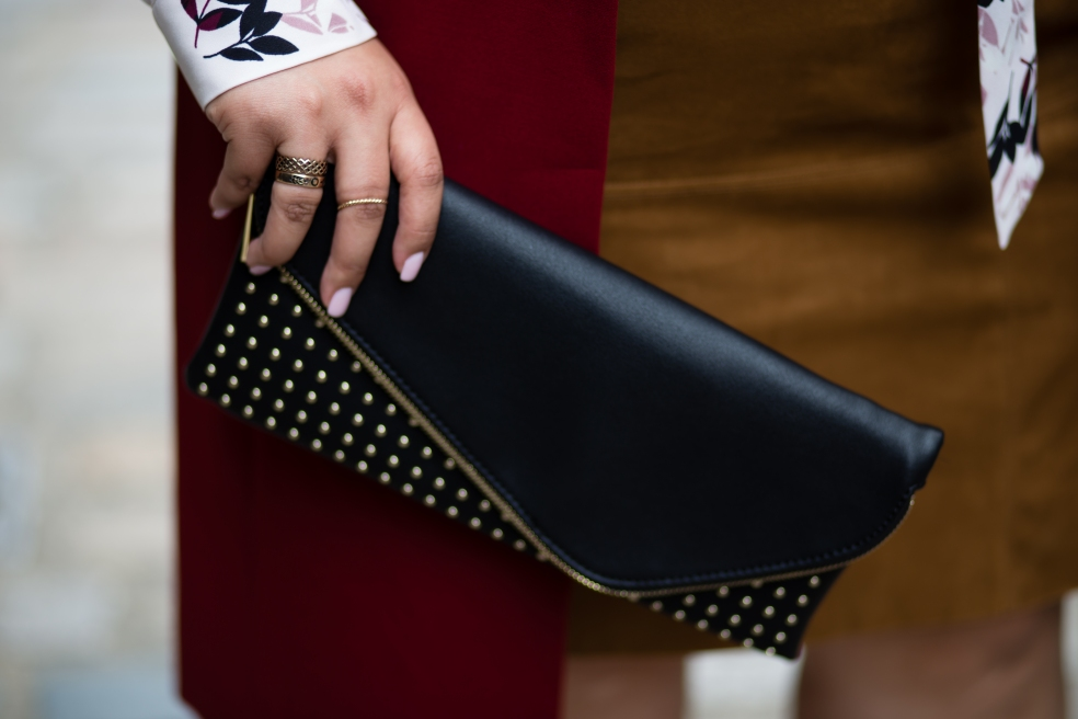 Evening Black Envelope Clutch with Gold Studs