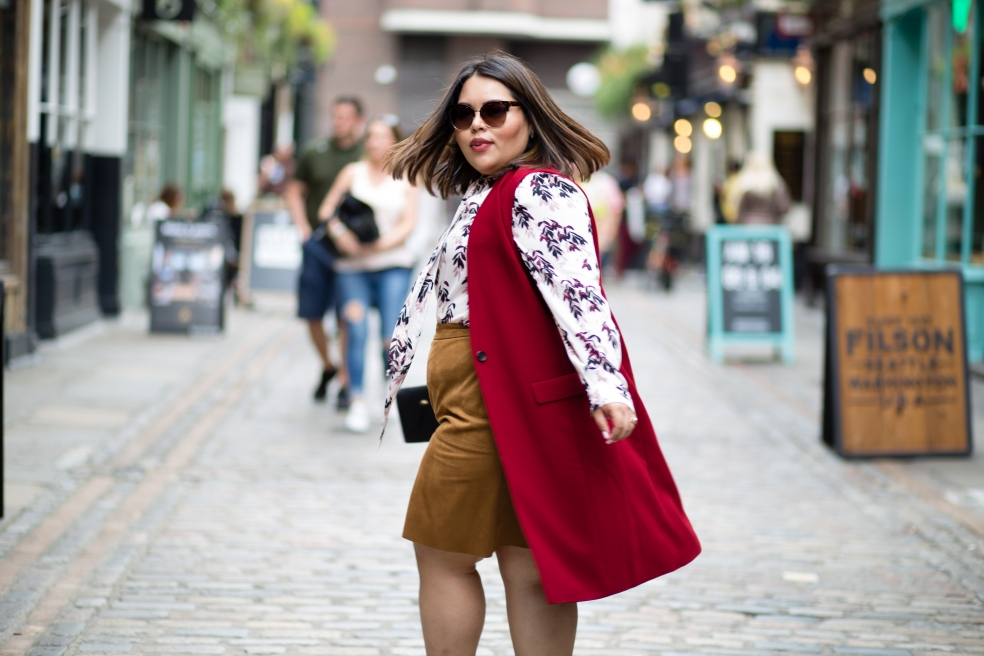 London Fashion Week Plus Size Street Style featuring Halogen Long Vest and Alfani Faux Suede Skirt