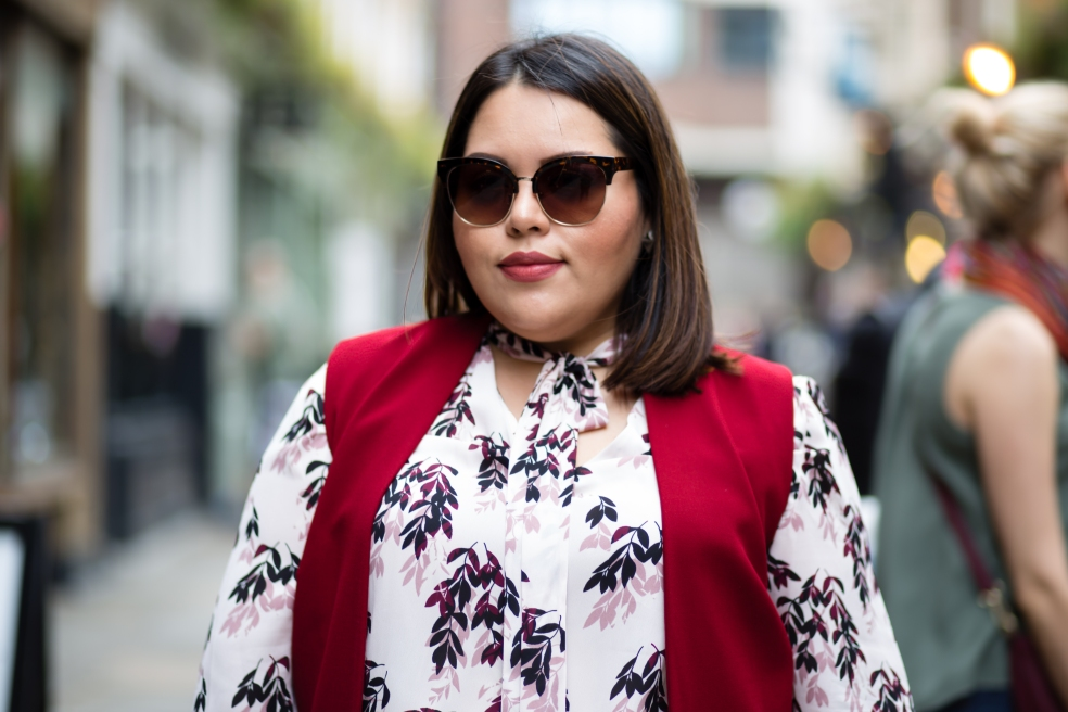 Plus Size Street Style featuring Vince Camuto Leaf Print Tie Neck Blouse