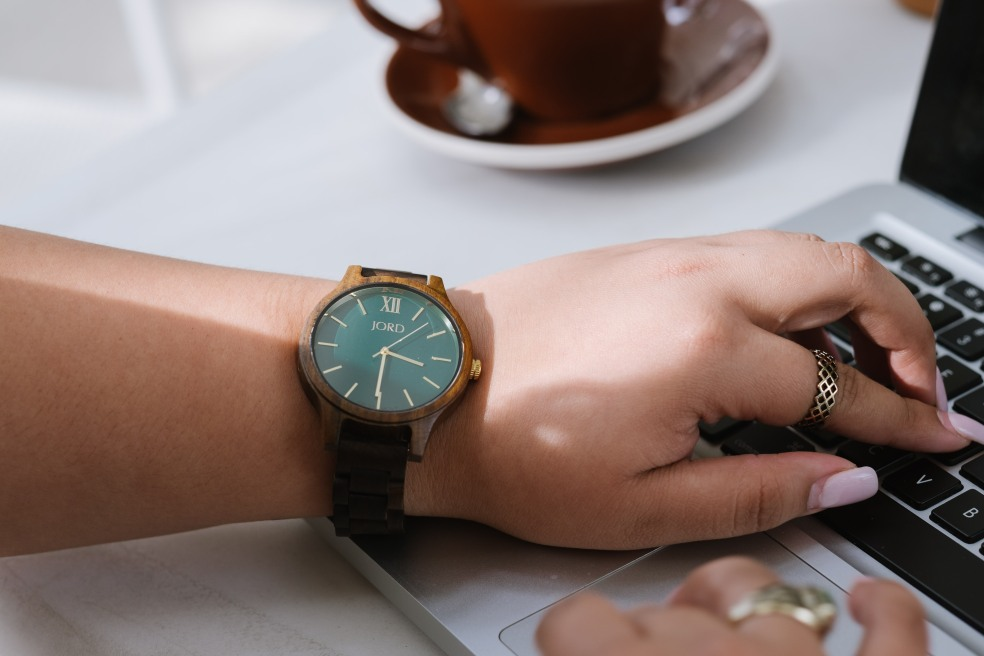 Fall Women's JORD Wood Watch in Dark Sandalwood and Emerald
