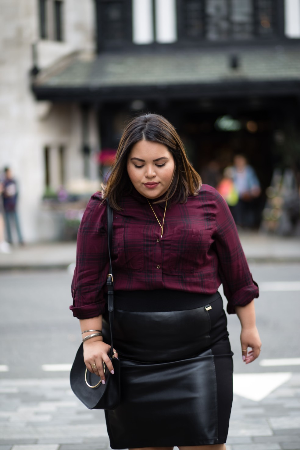 Plus Size Fall Outfit of the Day in Plaid and Faux Leather
