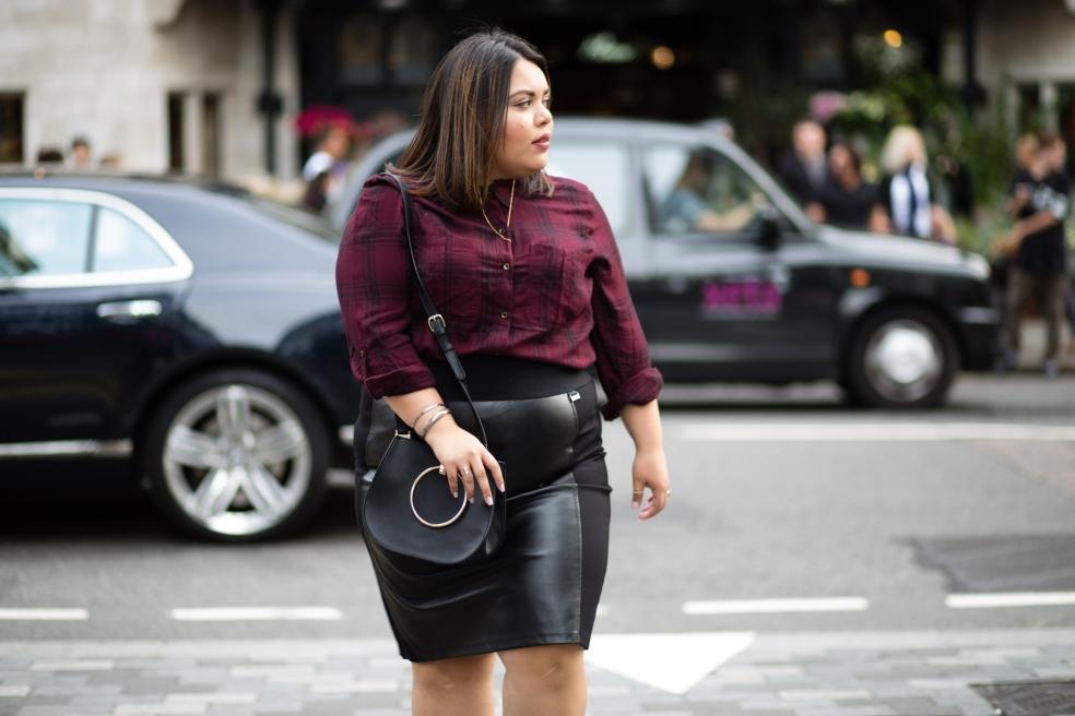 Jessica Simpson Plus Size Plaid Top + Calvin Klein Plus Size Black Faux Leather Skirt