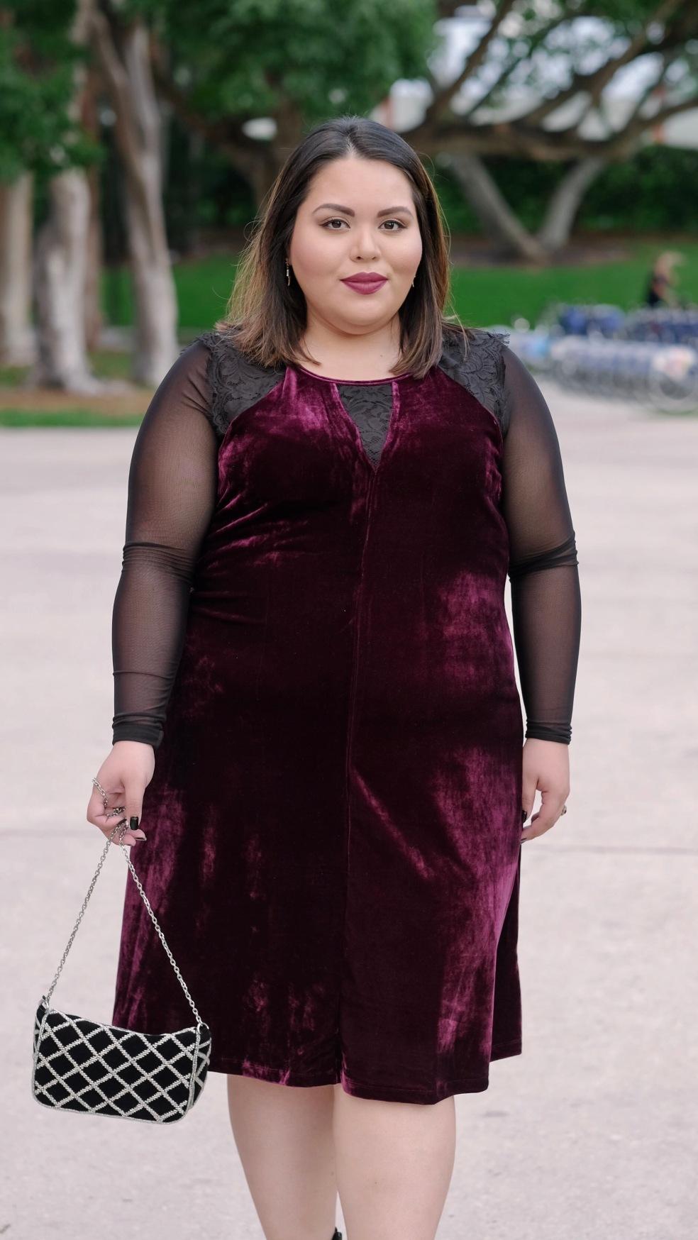 Let's Talk Chic Plus Size Blogger in NY Collection Velvet Flare Dress