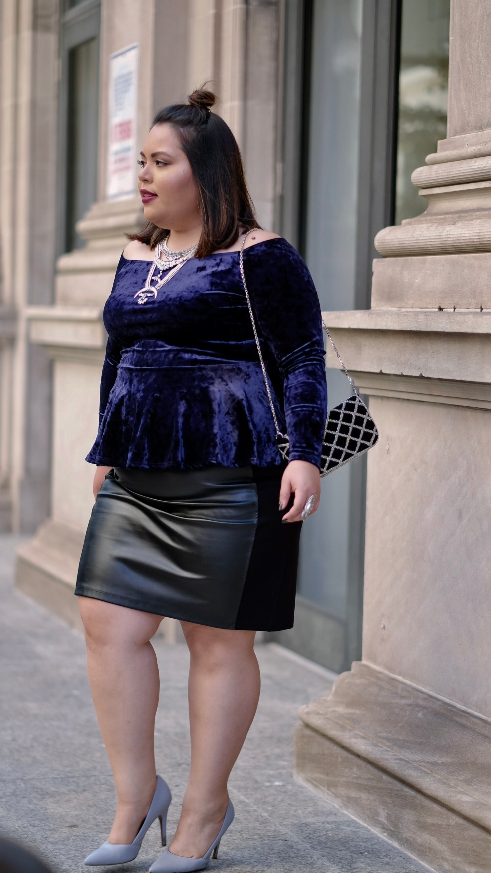 Plus Size Evening Outfit in Blue Velvet and Faux Leather Pencil Skirt