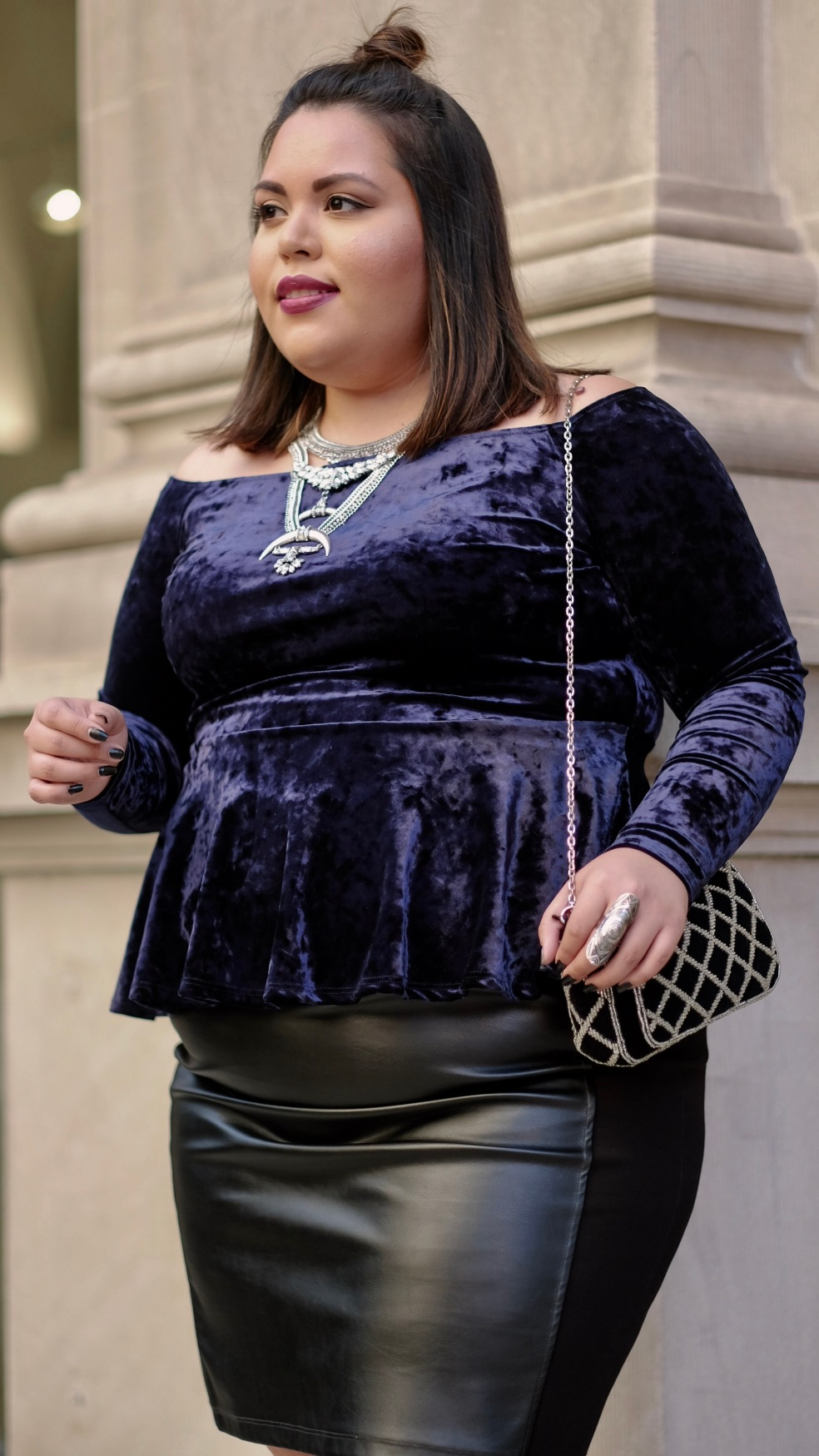 Plus Size Crushed Blue Velvet Off The Shoulder Peplum Top and Calvin Klein Faux Leather Black Pencil Skirt