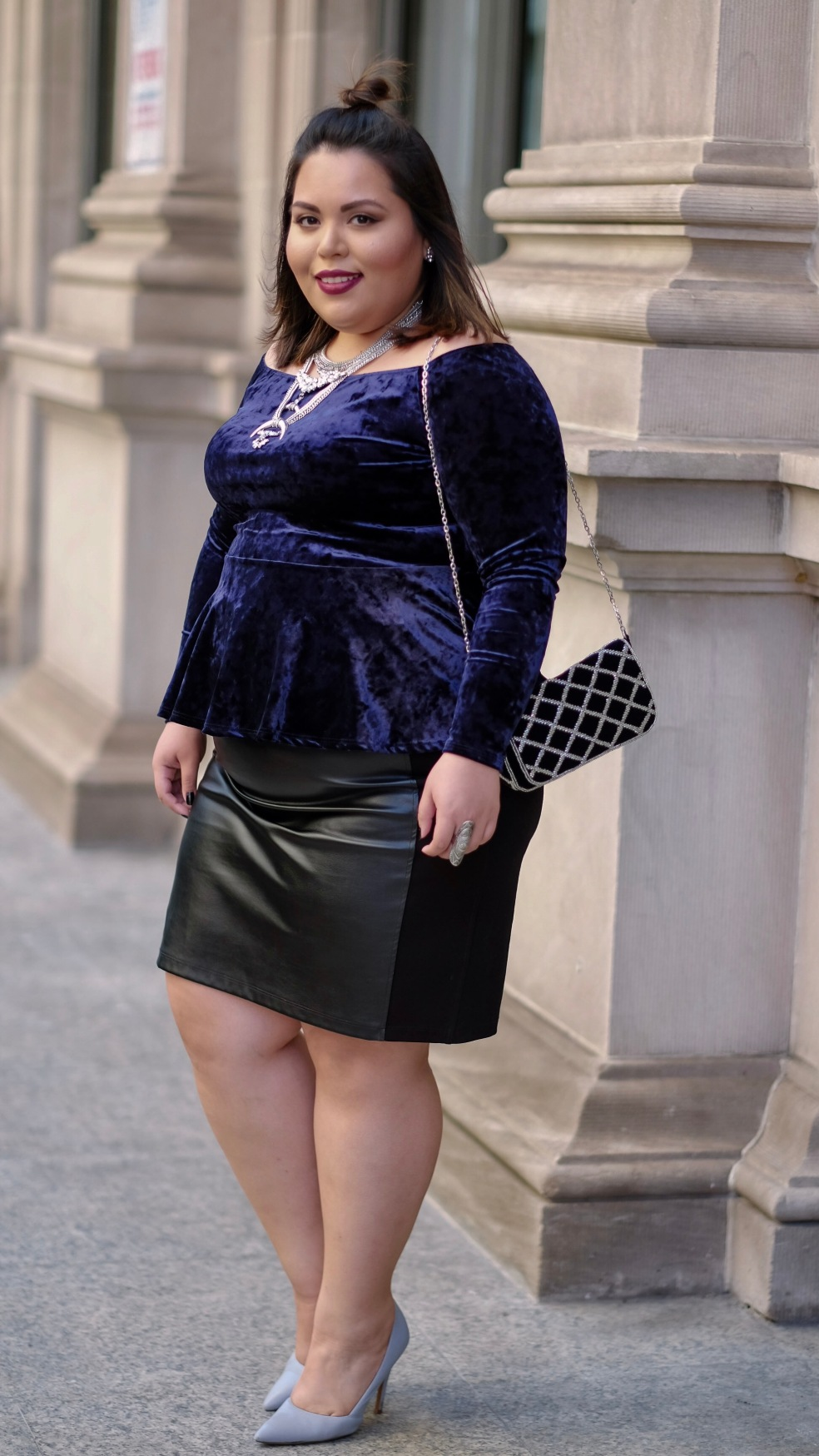Plus Size Holiday Street Style in Miami featuring Blue Velvet and Faux Leather