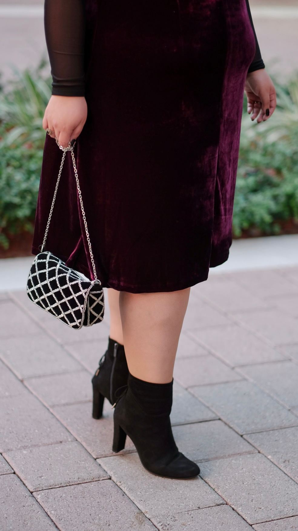Holiday Party Accessories featuring H&M Faux Suede Embroidery Bag and Sam Edelman Faux Suede Ankle Boots