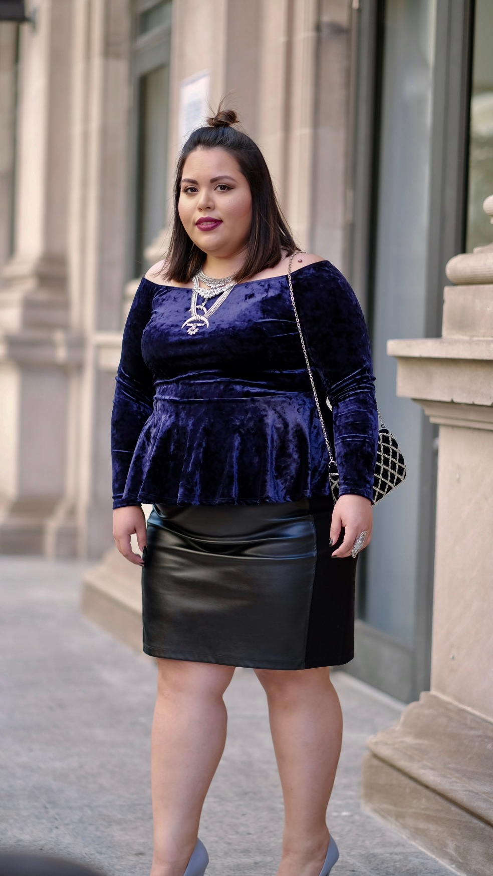 Plus Size Street Style Outfit featuring Off the Shoulder Peplum Long Sleeve Top