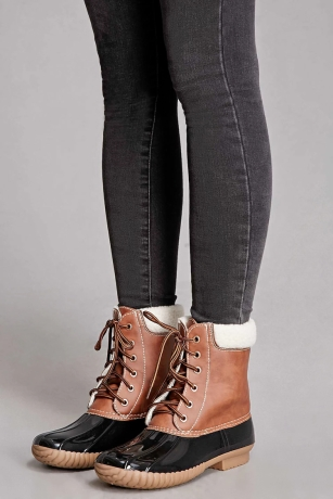 Forever 21 Yoki Faux Leather Duck Ankle Boots