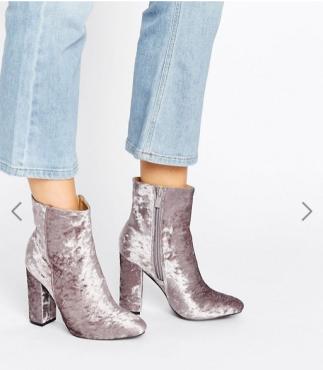 Public Desire Samara Gray Velvet Heeled Ankle Boots