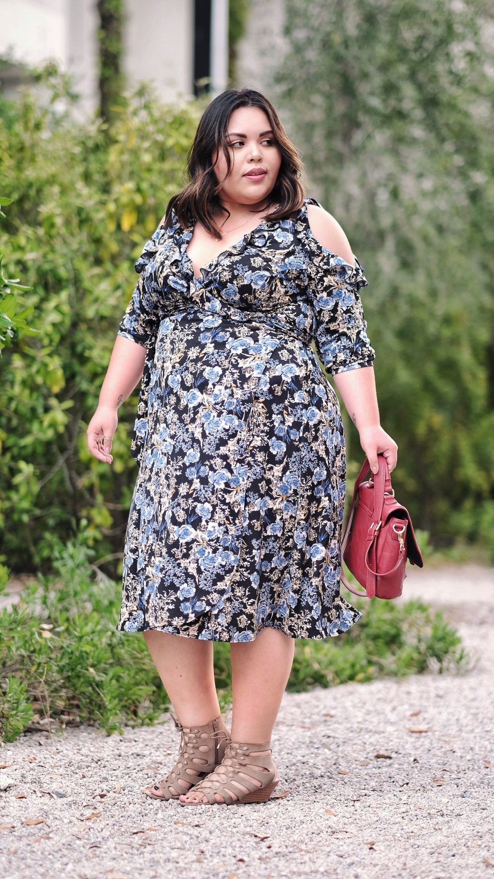 Kiyonna Floral Barcelona Plus Size Wrap Dress