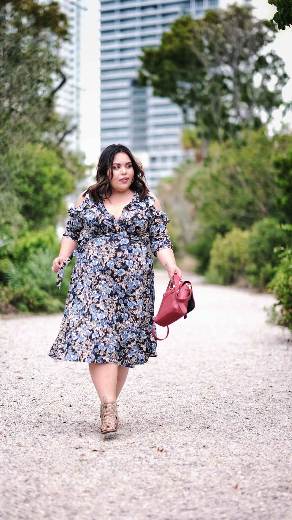 Kiyonna Spring Plus Size Floral Wrap Dress