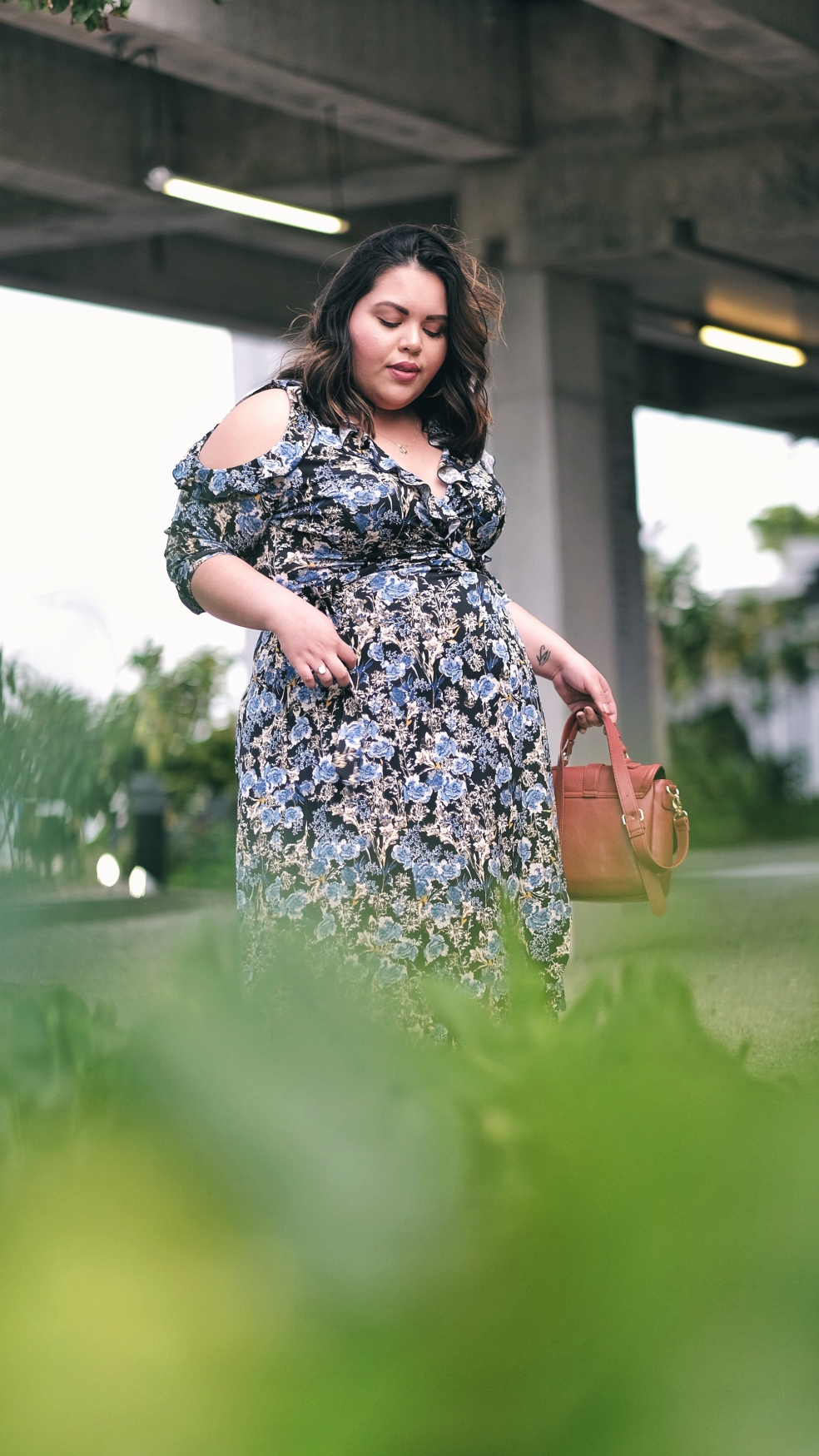 Kiyonna Plus Size Floral Barcelona Wrap Dress for Spring