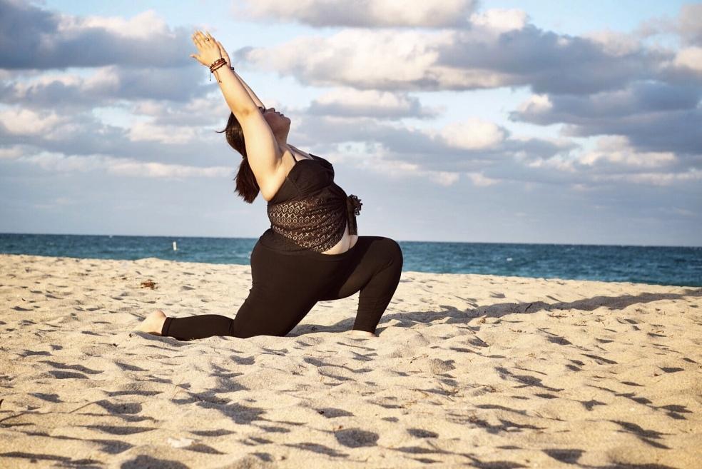 Curvy Yoga Crescent Moon Self Love Pose