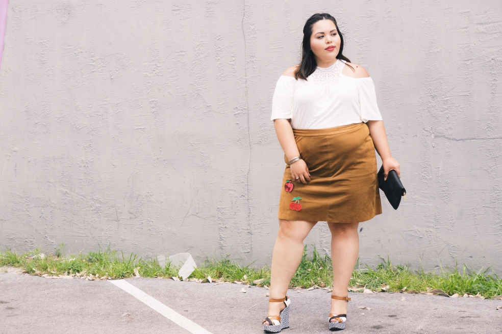 Plus Size DIY Suede Patch Skirt Spring Style