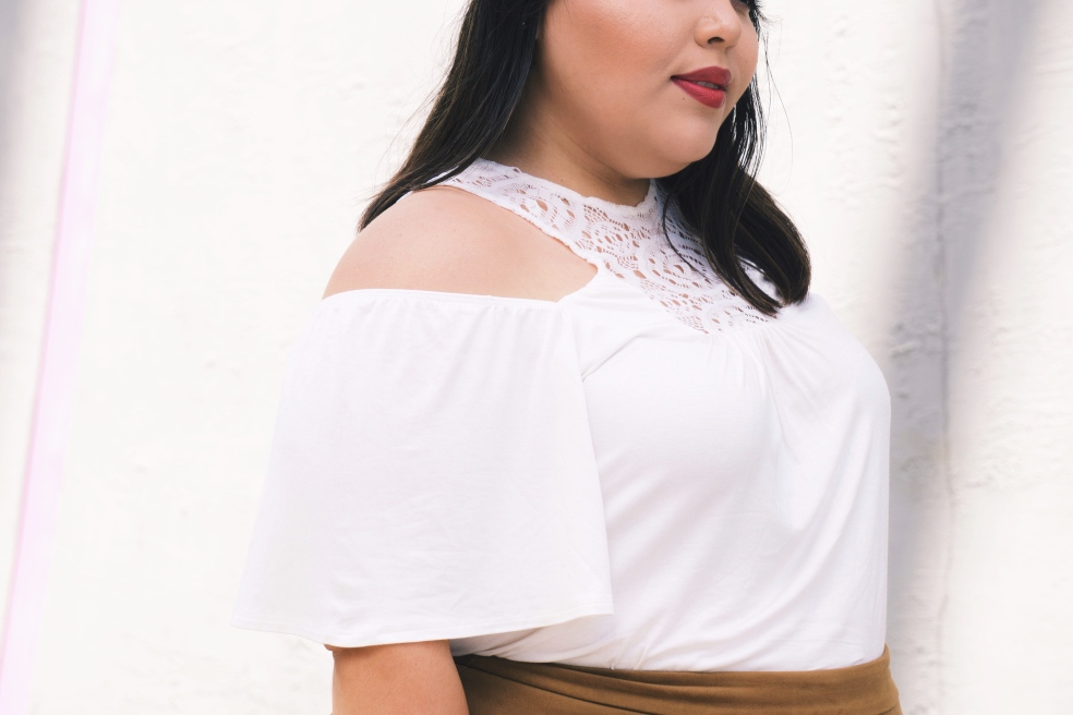 Plus Size Spring Off The Shoulder Kiyonna Cali Crochet Top