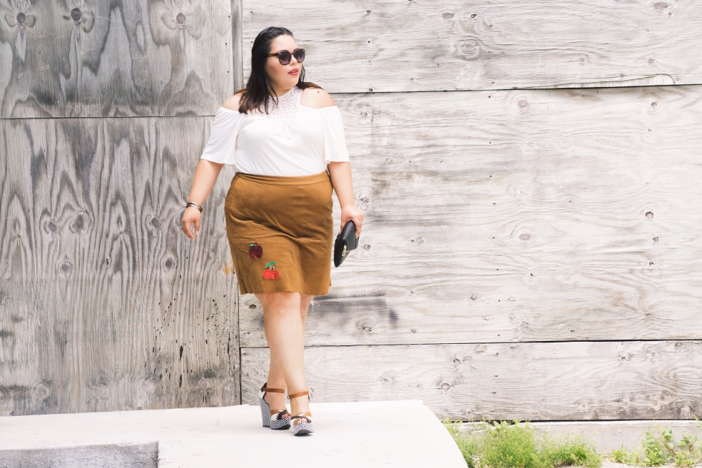 How to Style Plus Size Off The Shoulder Top with Patched Skirt