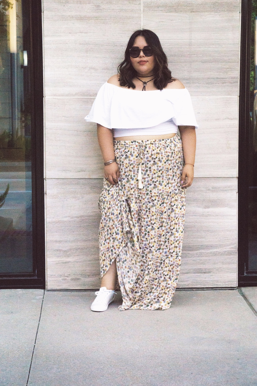 Spring Plus Size Outfit feat. Rebdolls Ruffled Crop Top and Mossimo Floral Maxi Skirt