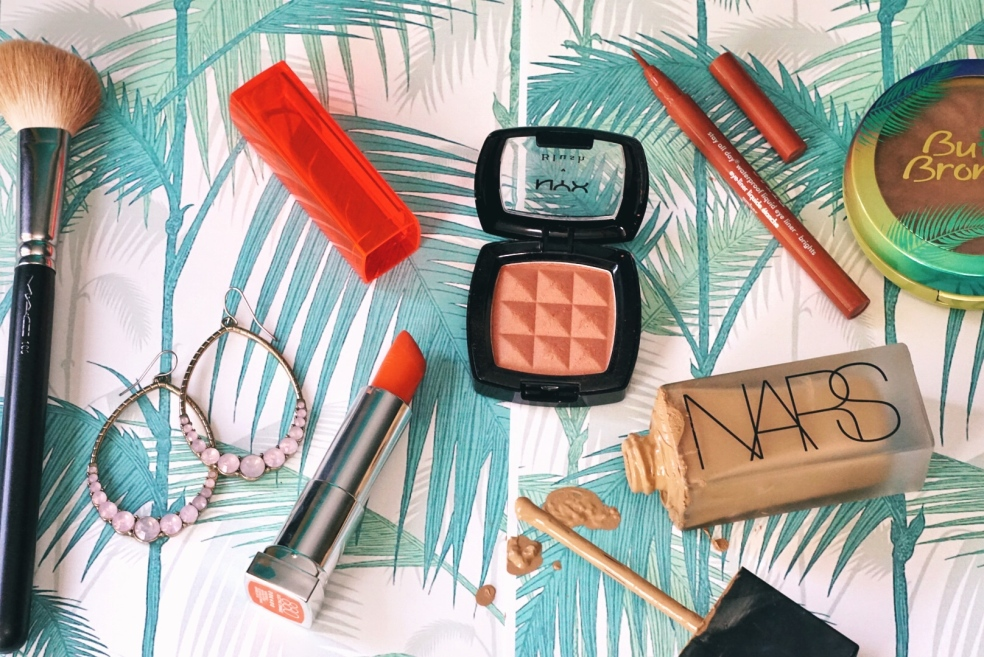 Orange Glowy Spring Makeup Look and Beauty Products