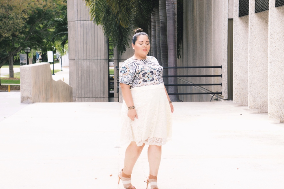 Plus Size Spring Style Outfit in Kiyonna Midi Lace Skirt